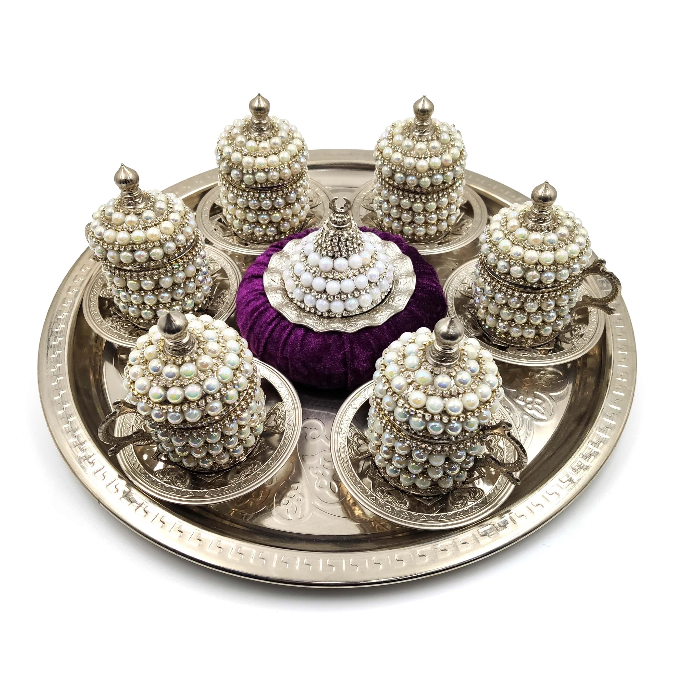 Набор из 6 чашки для турецкого кофе Swarovski, набор для арабского кофе, набор чайных чашек ручной работы, набор из меди эспрессо