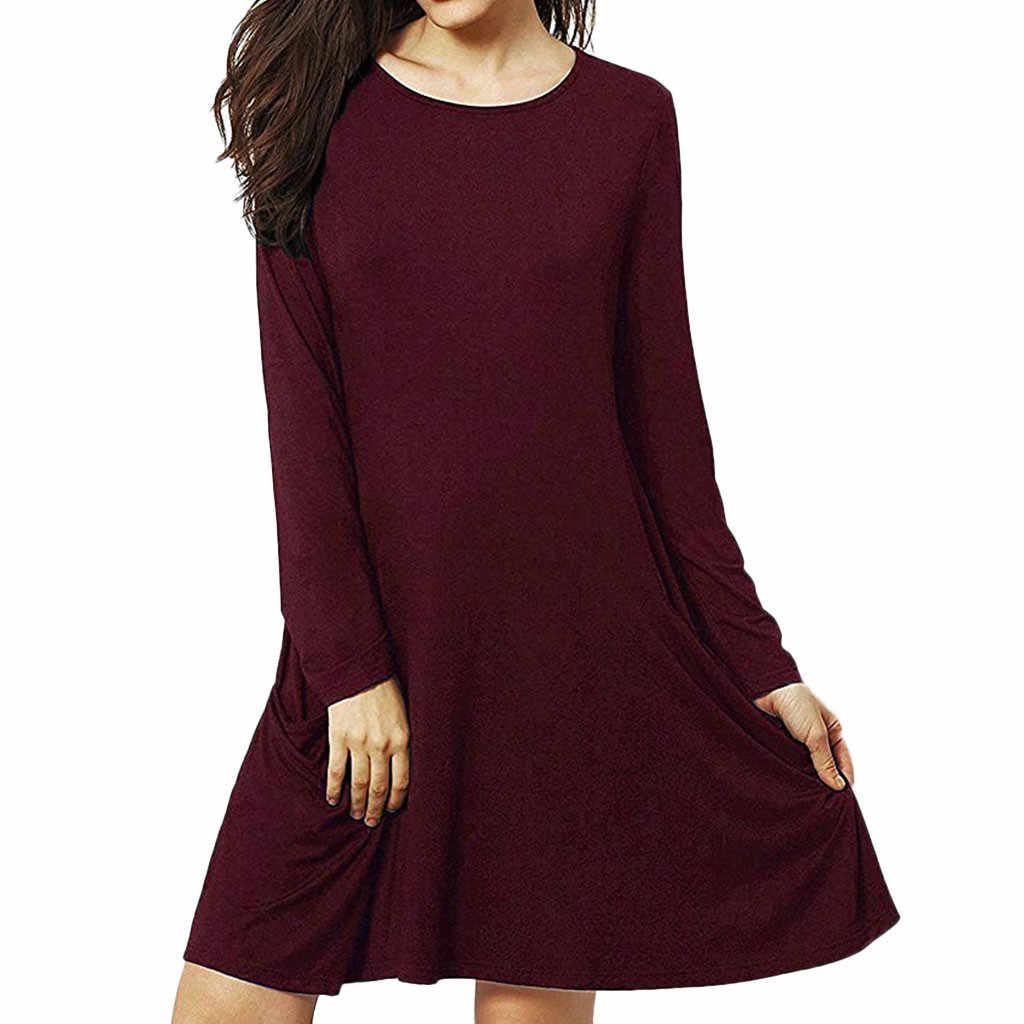 Женская мода повседневные Карманы Простой Цветочный качели футболка с длинным