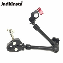 """Jadkinsta 11"""" Inch Articulating Magic Arm + 15mm Rod Clamp + Large Super Clamp Large Crab Pliers Clip HDMI Monitor LED Light"""