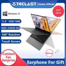 Teclast – PC portable F5 avec écran tactile rotatif à 256 ° de 512 pouces, processeur Intel Gemini Lake N4100 Quad Core, windows 10, 8 go de RAM, ssd de 360 go, 11.6 go