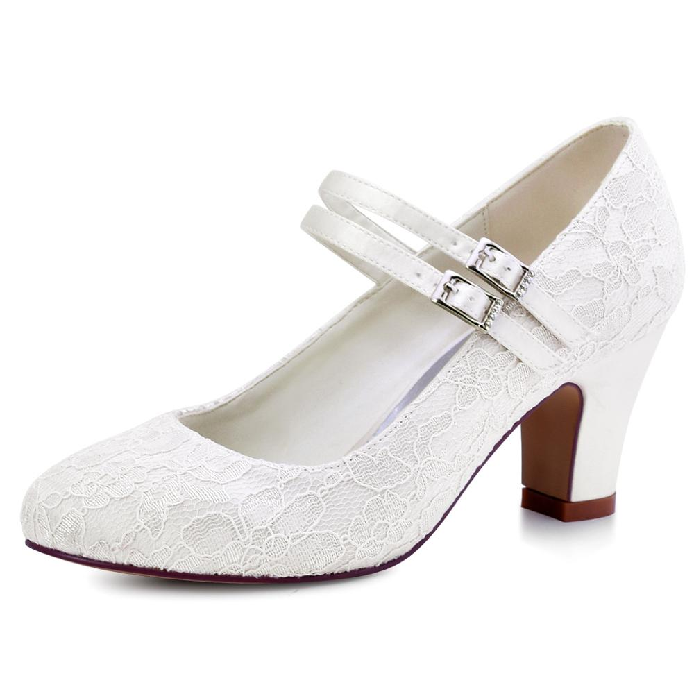 White Ivory Wedding Shoes Bridal Mary Jane Block Heels Woman Ladies Bride Evening Party High heels Pumps HC1708 Purple Black-in Women's Pumps from Shoes    1