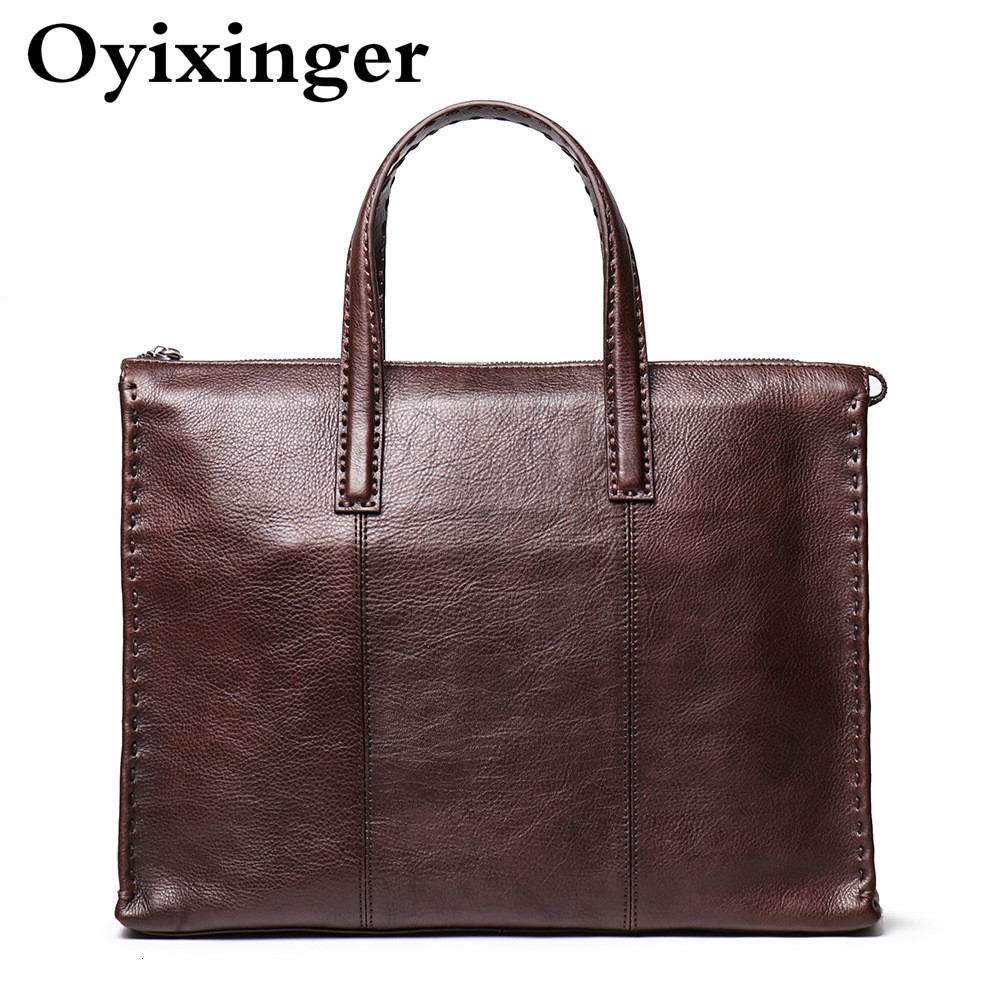 OYIXINGER Men's Natural Leather Briefcase Portable Men Cow Leather Laptops Bag Luxury Handbags Man Bags Designer Bolso Hombre