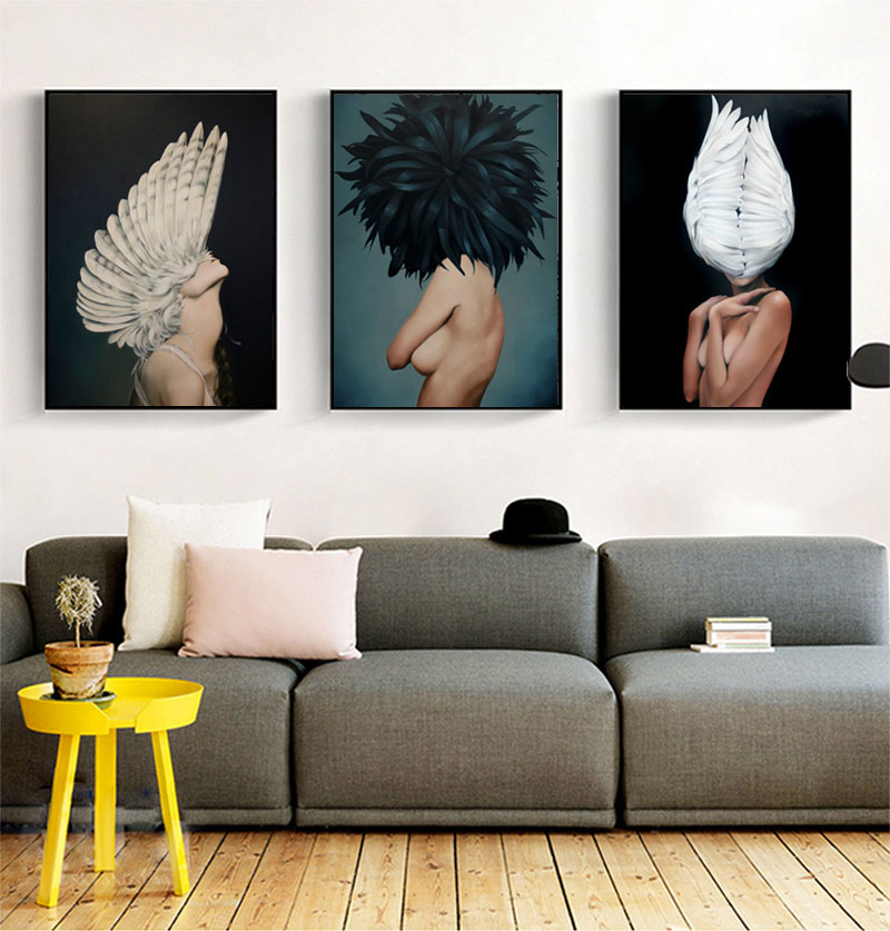 H4c61bd69655a4606aad155c607ccacdfp Modern Nordic Black And White Canvas Painting Art Print Wall Poster Abstract Girl Wall Pictures Wall Art for Bedroom Living Room