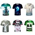2021 Летняя мода DJ электронная музыка marshmelloing 3D печатная Детская футболка с коротким рукавом для мальчиков и девочек эксклюзивная одежда