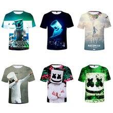 2021 verão moda dj música eletrônica marshmelloing 3d impresso crianças de manga curta camiseta meninos meninas boutique roupas