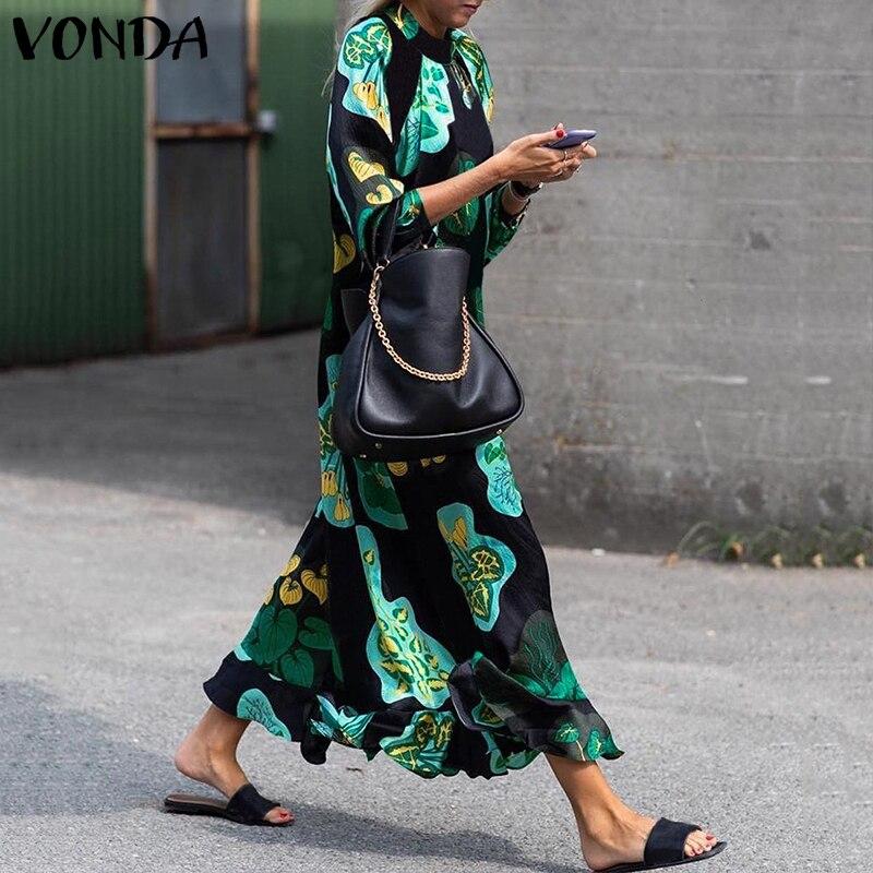 2019 VONDA летнее платье женское длинное Макси платье винтажное цветочное с длинным рукавом свободное пляжное платье Плюс Размер Повседневное платье