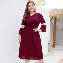 Dress 2019 Autumn Women Lace Stitching Nine Points Sleeves With Waist Casual Dress Faldas Mujer Moda Plus Size XL-4XL floral nine points sleeve hollow lace dress