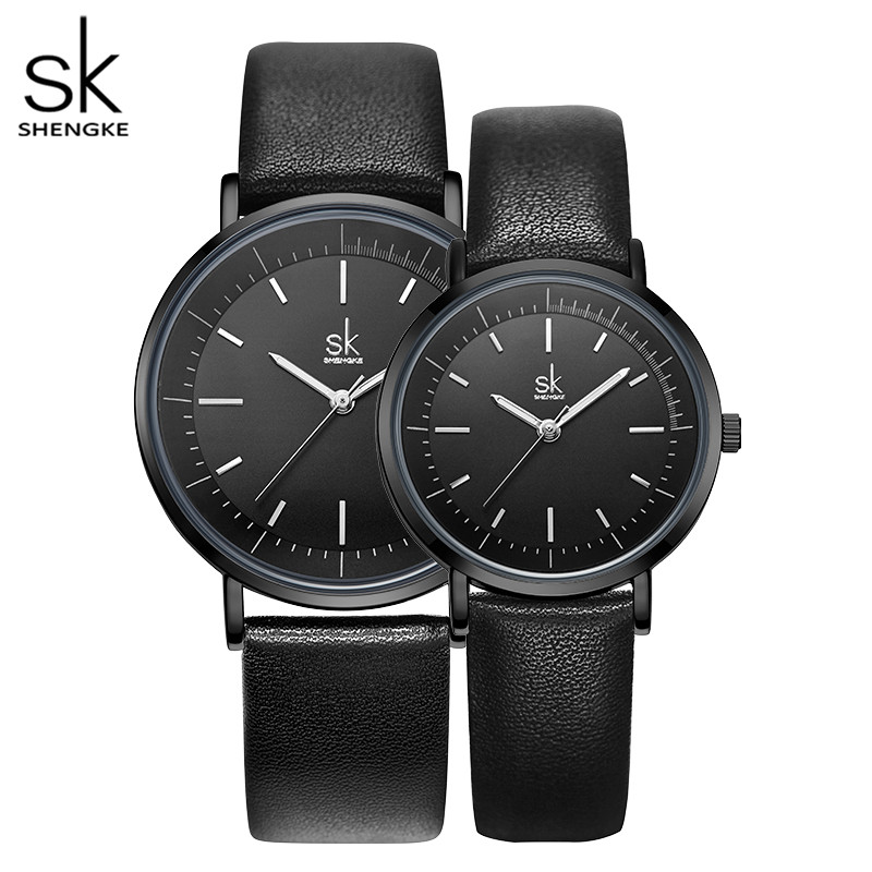 Shengke New Couple Watch Classic White And Black Dial Simple Design Reloj Hombre Quart Japanese Movement Anniversary Gift
