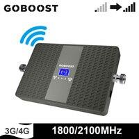 Goboost signal booster 3g 4g rede amplificador lte 1800 2100 mhz telefone celular banda dupla repetidor banda 1 banda 3