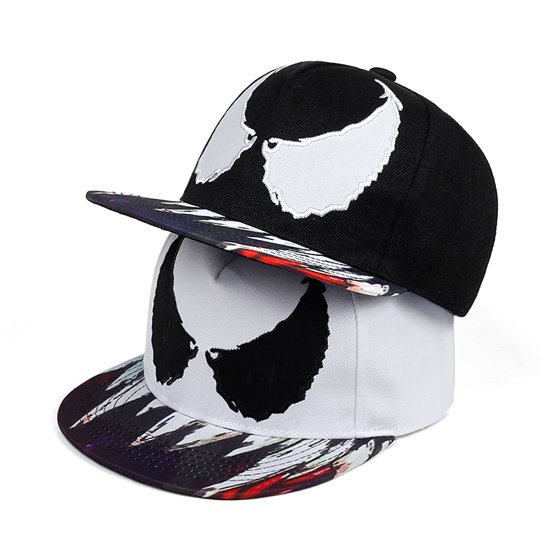 2019 New Venom Printing Snapback Cap Fashion Outdoor Hip Hop Baseball Caps 100%cotton Flat Hat Adjustable Sun Visor Hats