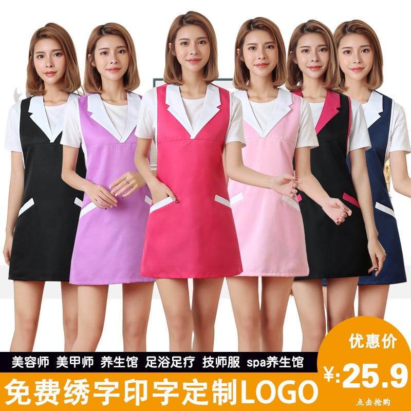Beauty Salon Waiter Work Clothes Korean-style Fashion Manicure Sleeveless Shop Beautician Mom And Baby Antifouling Women's Korea