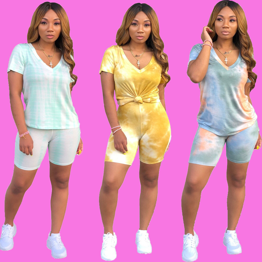 HAOYUAN Casual Tie Dye 2 Piece Tracksuit Womens Festival Short Sleeve Top and Biker Shorts Suit 2 Piece Outfits Matching Sets
