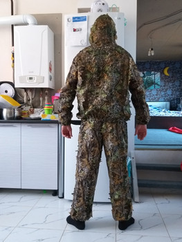 Outdoor Hunting clothes 3D maple leaf Bionic Ghillie Suits Yowie sniper birdwatch airsoft Camouflage Clothing jacket and pants 1