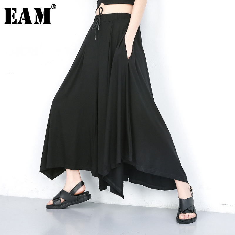 [EAM] High Elastic Waist Black Leisure Wide Leg Long Trousers New Loose Fit Pants Women Fashion Tide Spring Autumn 2020 JU667