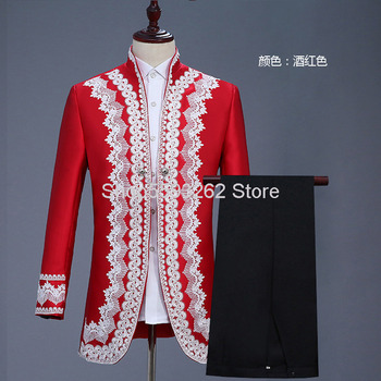 Men Style Court Clothing Red Suit Prince Clothing Stage Drama England Performance Clothing Military Ceremony Clothing tanie i dobre opinie SILK Satin National costume Four Seasons Acrylic fiber Youth Color matching