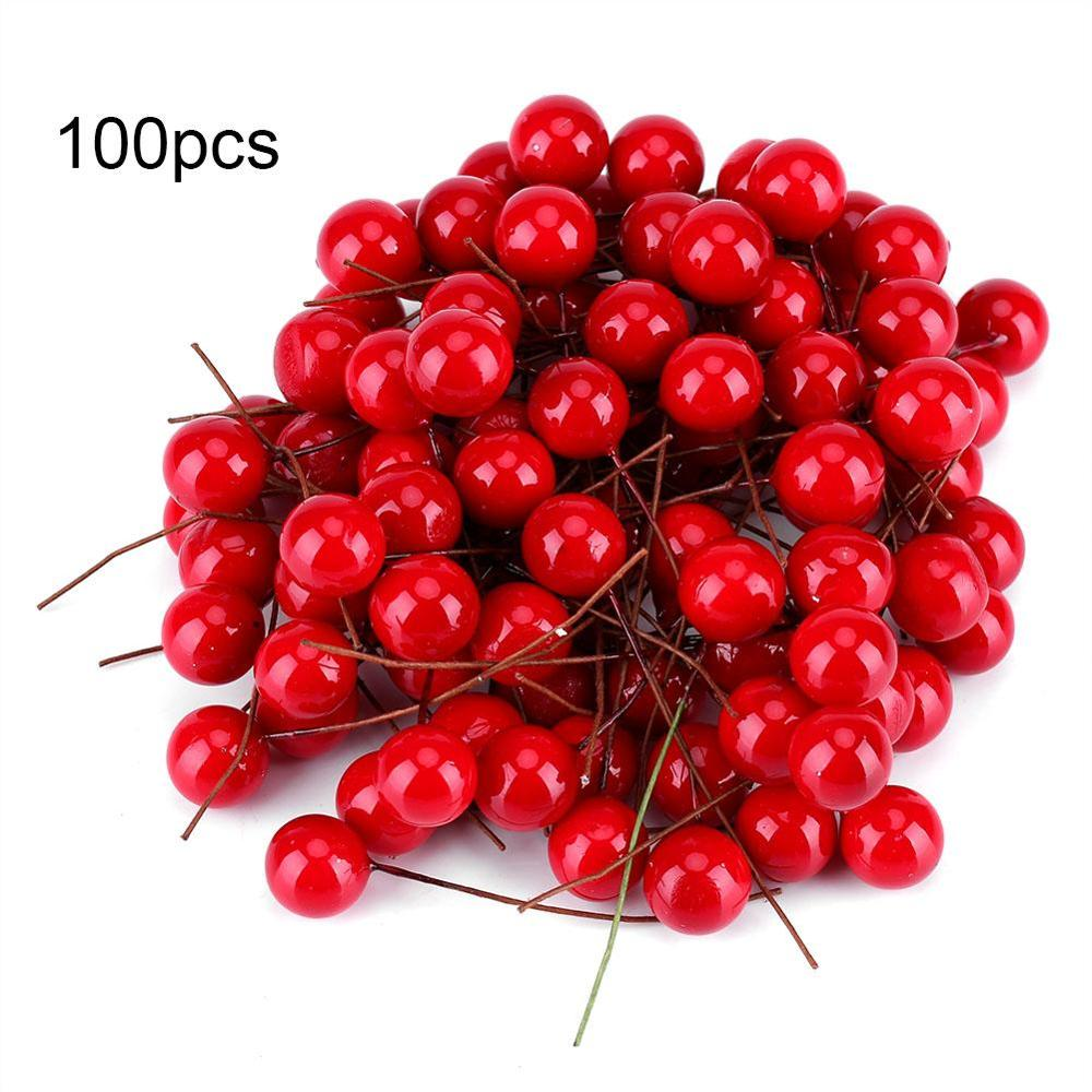 100 Pcs 1/1.5/2cm Artificial Foam Red Holly Berry Christmas DIY Home Garden Decorations Wedding Supplies Gift