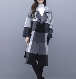Image 1 - Contrast plaid woolen coat female 2020 autumn winter warm windproof long overcoat plus size trench coat suit collar casaco top