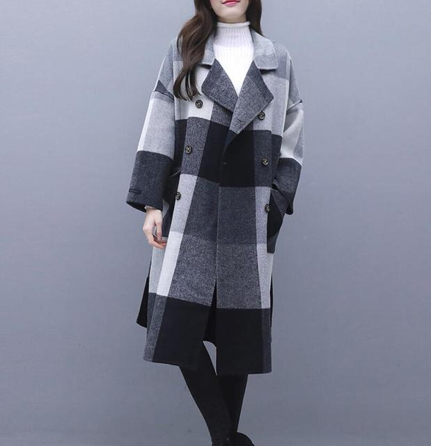 Contrast plaid woolen coat female 2020 autumn winter warm windproof long overcoat plus size trench coat suit collar casaco top