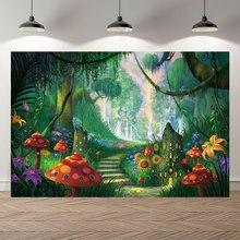 Neoback vinil floresta mágica cogumelo bebê princesa aniversário photocall banner encantado conto de fadas terra fotografia fundos