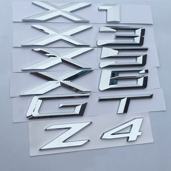Letter Number Emblem for BMW X1 X3 X5 X6 GT Z4 Trunk Model Name Badge Car Styling Refitting Sticker Chrome Silver Matte Black image