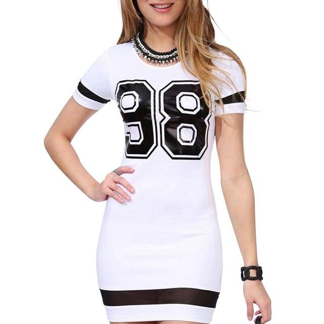 Women's Casual Round Neck Short Sleeve Slim Bag Hip 98 Printed Mesh Dress Short Sleeve Slim Summer Fit Tights Dress 2