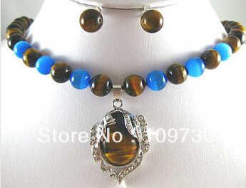 Бесплатная доставка> 5 цветов! Прекрасный 10 мм камень «тигровый глаз»/синее Нефритовое ожерелье кулон шпильки/клипсы можно выбрать)
