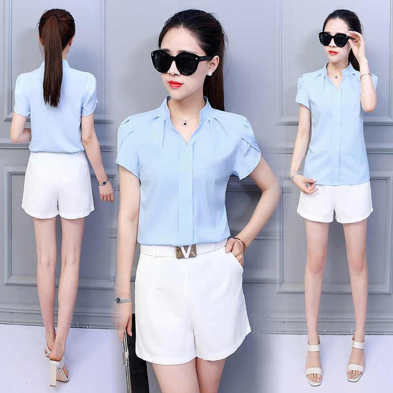 Tops y blusas de gasa para mujer blusas de manga corta camisas blancas ropa de moda coreana tallas grandes XXL Tops para mujer camisas mujer blusas mujer de moda 2019 camisa femenina blusas mujer blusa mujer