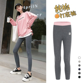 Spring and autumn oversized Leggings for women to wear grey high waist cotton stretch tight black autumn pants in autumn and image