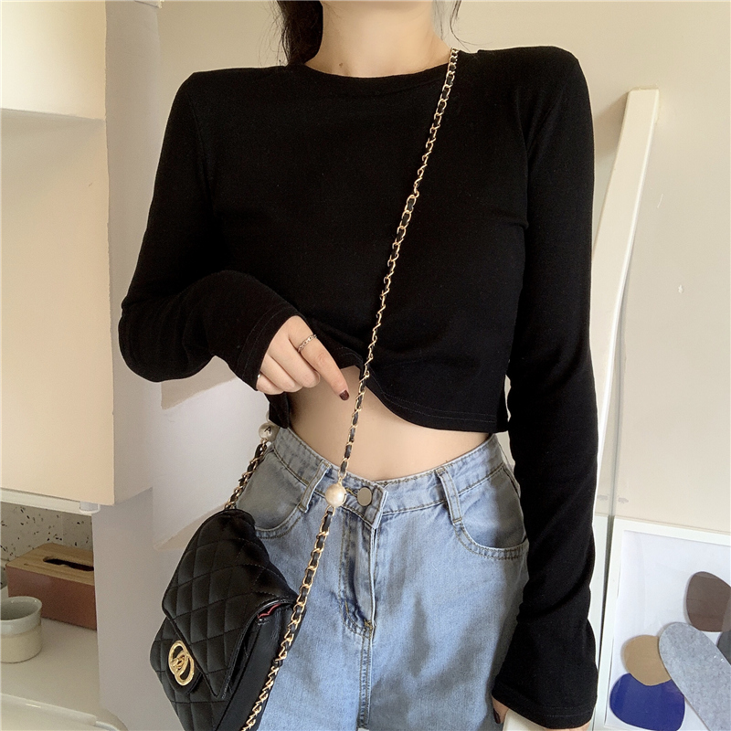 Ladies Spring Autumn Basic Long Sleeve T-shirt 2020 Korean Women Short Slim Tshirt Female Tops Loose Casual Cotton Ladies Tees