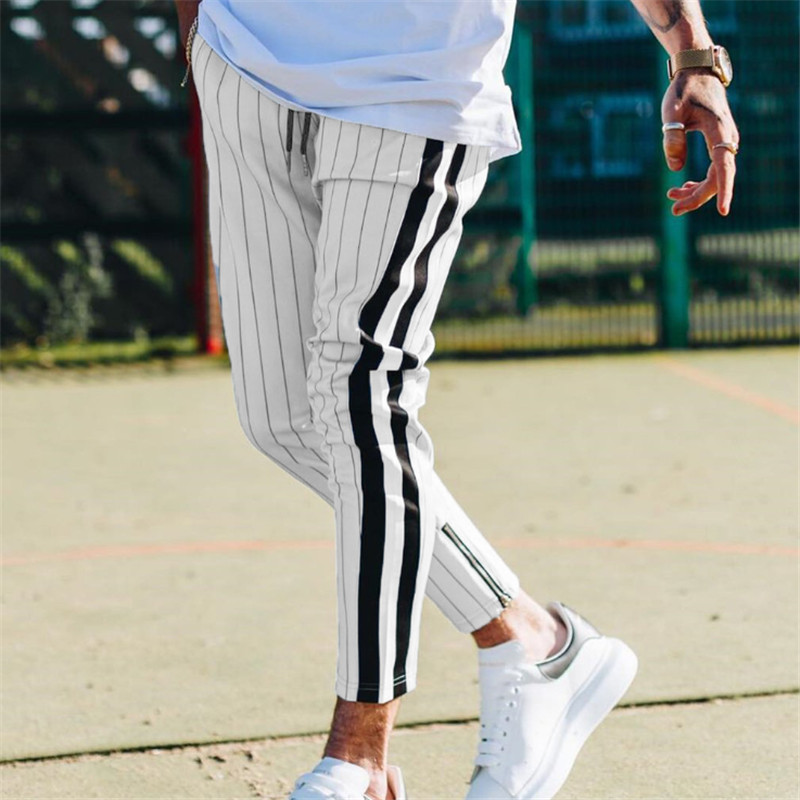 2019 Fashion Men Long Trousers Many Occasion Men Slim Comfortable Male Pants With Pockets Black White Striped Casual Pants Men