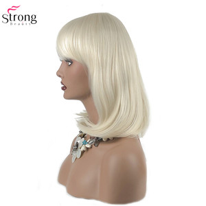 Image 3 - StrongBeauty 女性の合成かつらの髪ブロンド/黒セミロングストレート髪すっきりビッグバンスタイルナチュラかつらキャップレス