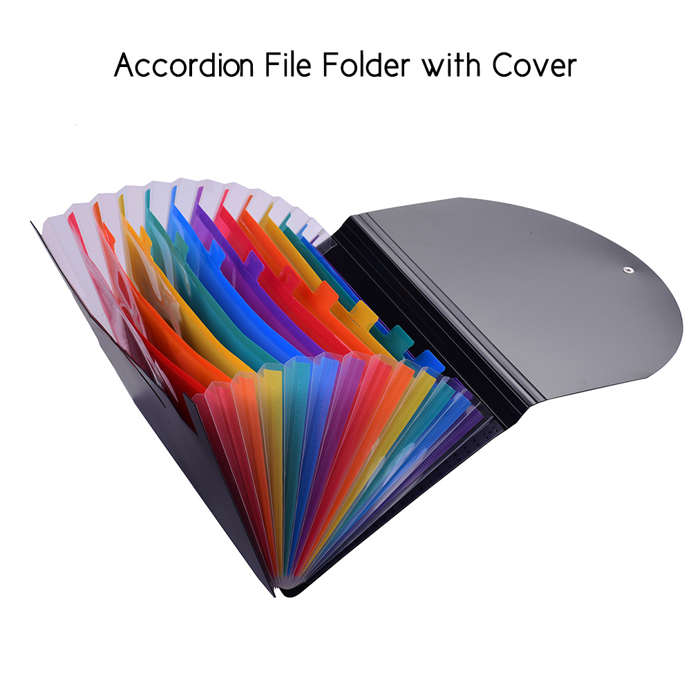 Accordion Expanding File Folder  Rainbow Coloured A4 Paper Filing Cabinet With Cover Receipt Organizer With Label Cards