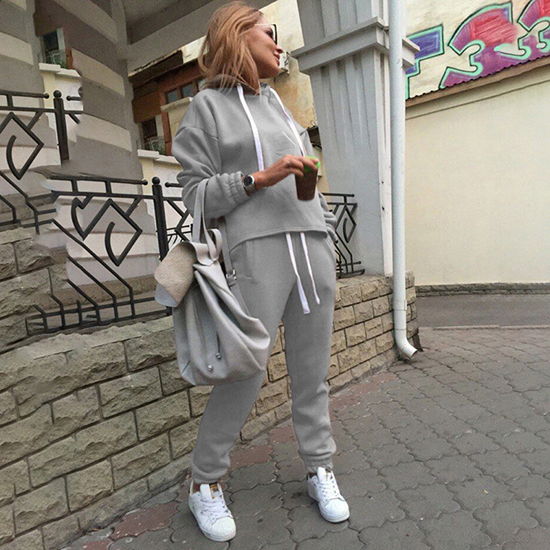 2 Piece Sets New Casual Suits Autumn Hooded Pullover Fleece & Loose Pants Women Two-piece Set Solid Hoodies+Trousers Tracksuit