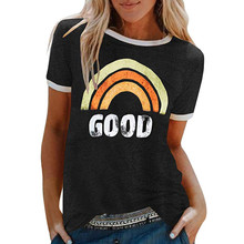 T shirt ladies Women Summer Letters rainbow Printing Short Sleeve Shirt round neck Casual Tunic Tops in stock женские футболки