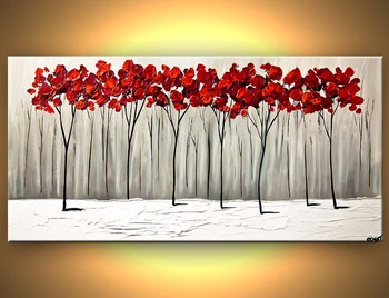 Handmade Wall Art Oil Painting Red Cherry Blossom Tree Art Beautiful Oil Paintings For Home Decorations Modern Vinicor Art
