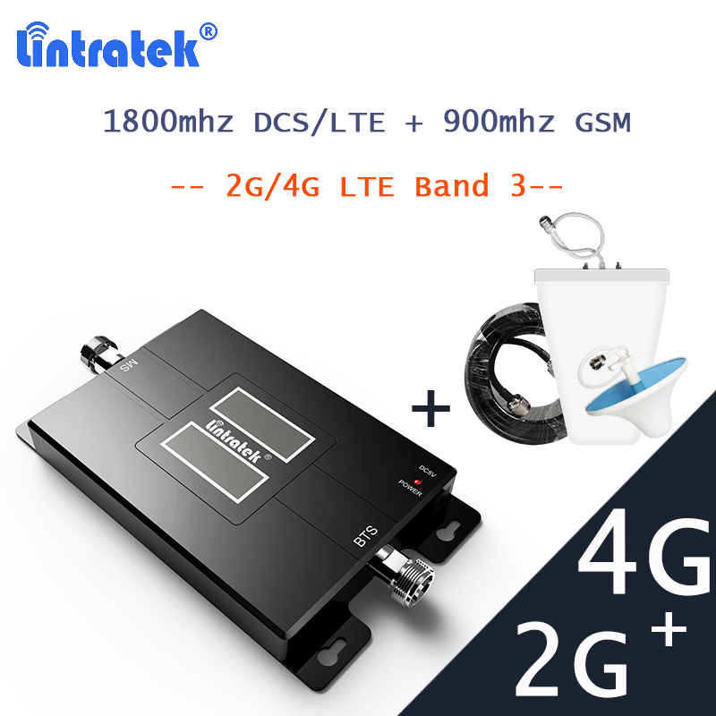 Lintratek 2G GSM 900 LTE 4G Signal Booster 1800 DCS LTE Cellular Signal Communication Amplifier Repeater Mobile Phone Booster