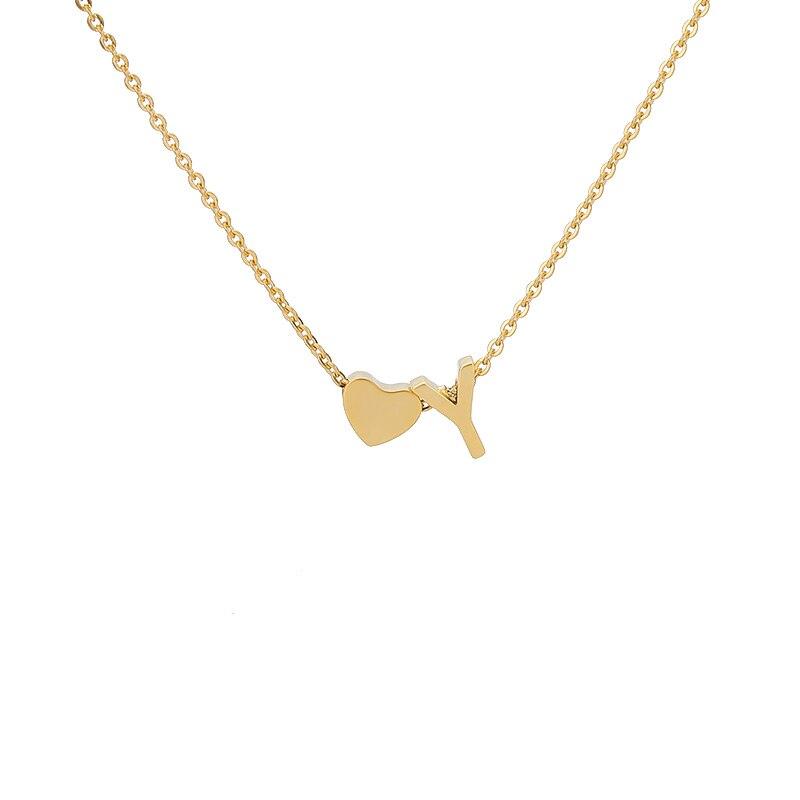 Adorável Coração Letra Y Colares Pingentes Para As Mulheres Subiu de Prata de Ouro de Aço Inoxidável Pingente Cadeia Feminina Colar Collier Femme