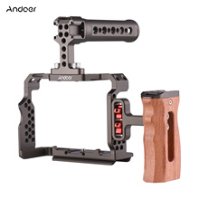 Andoer Camera Cage Kit with Video Rig Top Handle Wooden Grip Replacement for Sony A7R III/ A7 II/ A7III Camera Cage