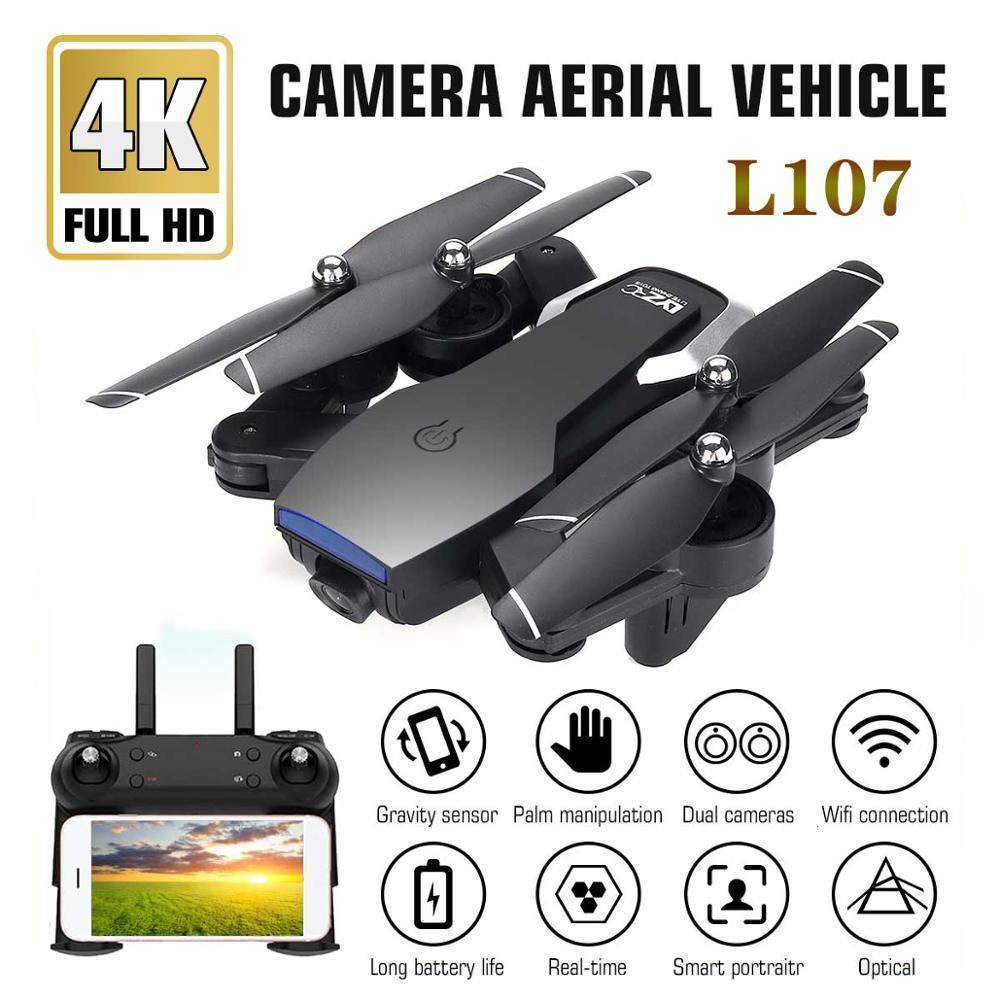 L107 Drone 4K 2.4G WIFI FPV avec grand Angle double caméra HD RC hélicoptère jouet 20minutes de Long temps de vol pliant Portable