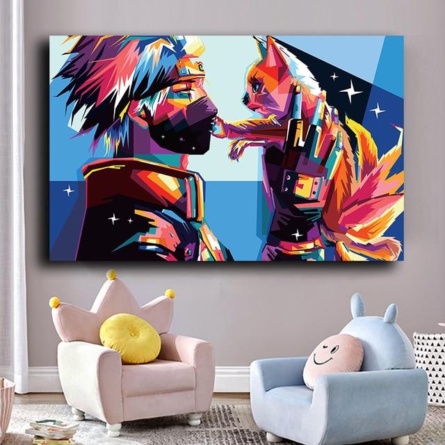 Japonais Anime affiches et impressions Naruto Kakashi dessin animé photos toile peinture mur Art photo enfants chambre décoration Cuadros