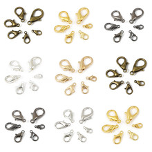 10/12/14/16/18/21mm 20-50pcs/lot Plated Alloy Lobster Clasp Hooks For Bracelet Necklace Chain Diy Jewelry Making Supplies(China)