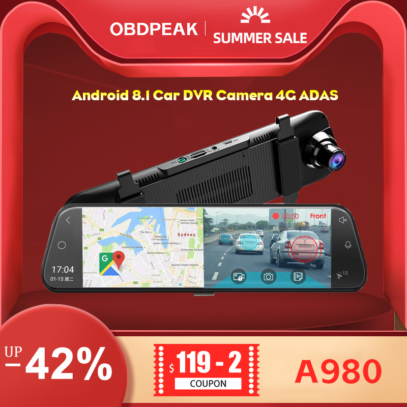 Android 8.1 Car DVR Camera 4G ADAS 10 Inch Stream Media Rear View Mirror 1080P WiFi GPS Dash Cam Registrar Video Recorder DVRs