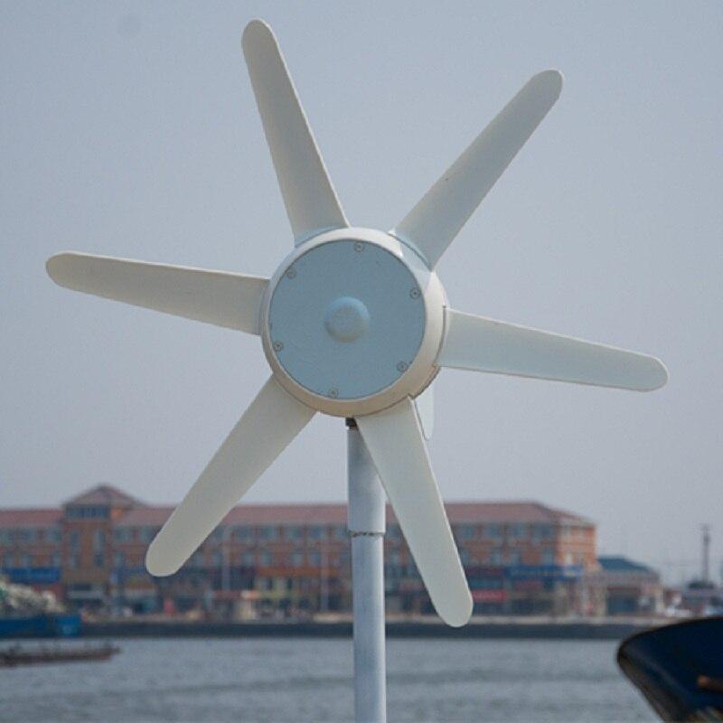 Générateur d'énergie de Turbine de vent de cc de 50W 6 lames avec le contrôleur intégré 12 V/24 V petit générateur de vent facultatif pour le réverbère à la maison