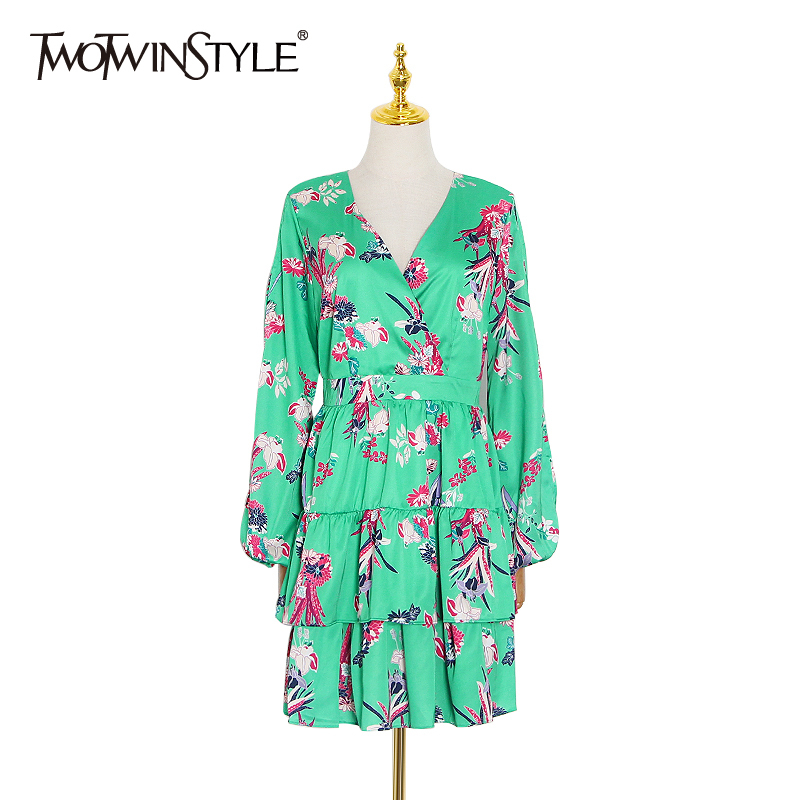 TWOTWINSTYLE Elegant Print Summer Dress Women V Neck Lantern Long Sleeve High Waist Hollow Out Mini Dresses Female Fashion Tide