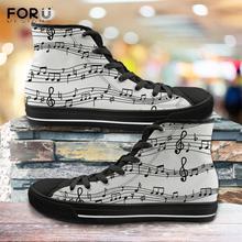 FORUDESIGNS Fashion Men High Top Canvas Shoes White Music No