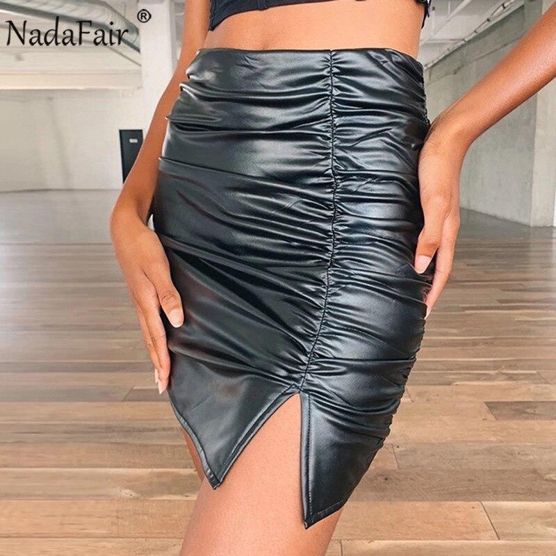 Nadafair Black Mini Leather Skirt High Wist Ruched Sexy Bodycon Club Pu Plus Size Winter Skirt Women