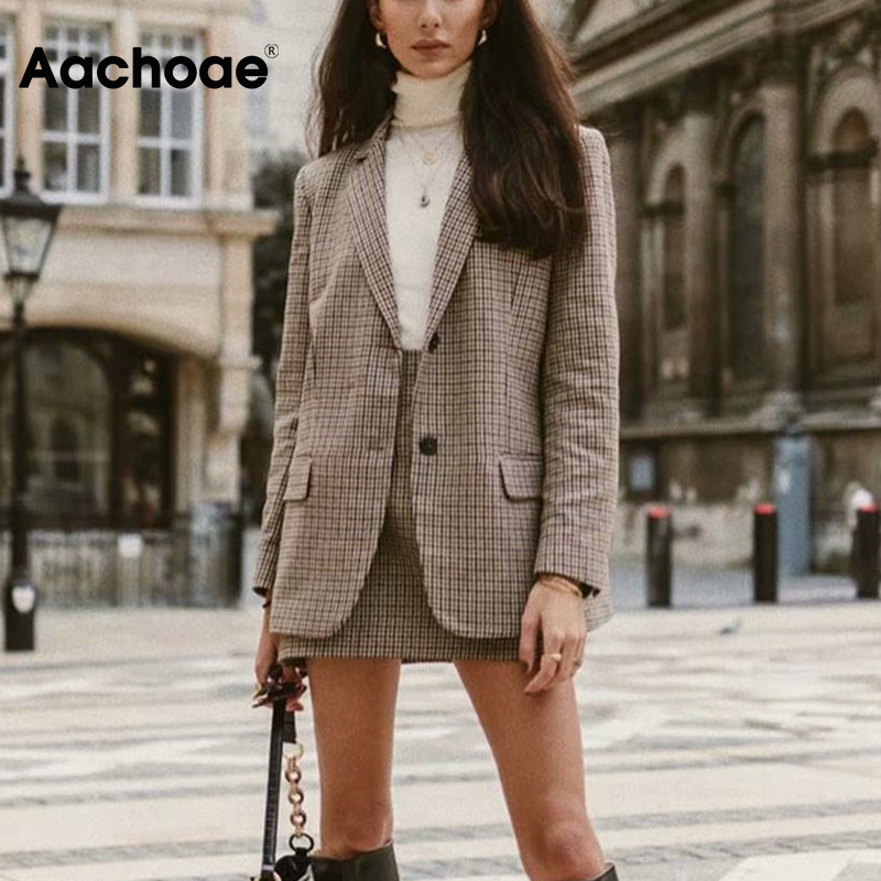 Aachoae Women Plaid Tweed Skirts Suit 2020 Spring Long Sleeve Houndstooth Office Blazer Jacket & Skirt 2 Pieces Sets Women Suits