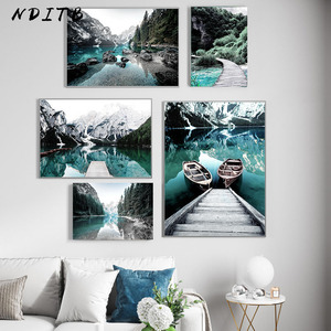 Scandinavian Nature Landscape Poster Nordic Style Print Mountain Lake Boat Wall Art Picture Painting Modern Living Room Decor