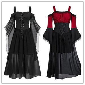 Vintage Gothic Lace Gown Dress Medieval Women's Evening Party Lace Up Corset Dress