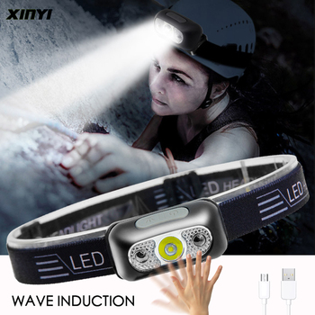 Mini LED Headlamp Body Motion Sensor Headlight With USB charging Rechargeable Camping Flashlight 6000LM Head Light Torch Lamp
